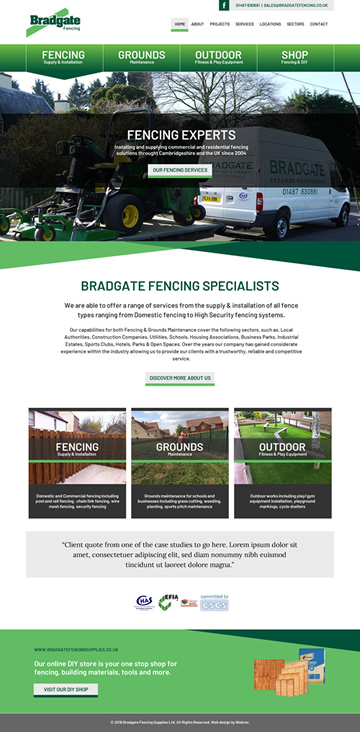 Bradgate Fencing Web Design
